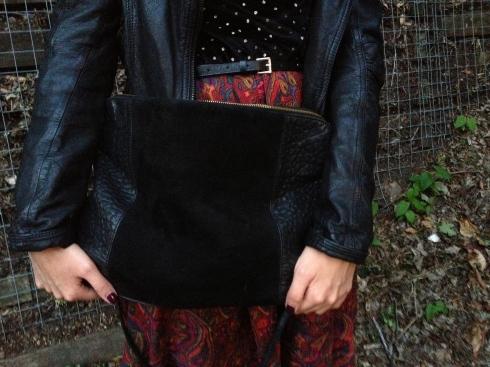zara leather suede bag