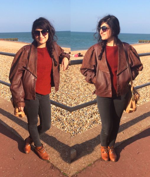 brown leather OOTD